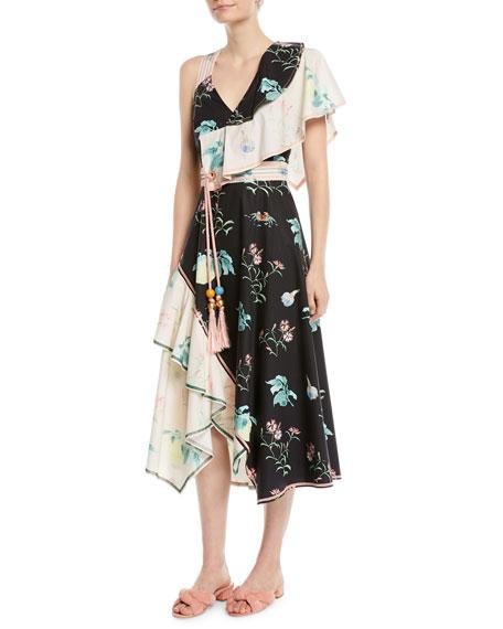 V-Neck Sleeveless Floral-Print Asymmetric Cotton Dress