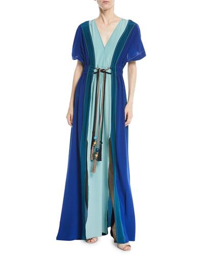 V-Neck Short-Sleeve Colorblocked Silk Maxi Dress
