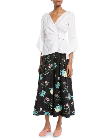 Floral-Print Cotton Poplin Cropped Culottes
