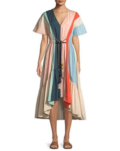 V-Neck Short-Sleeve Belted Multicolor Cotton Dress