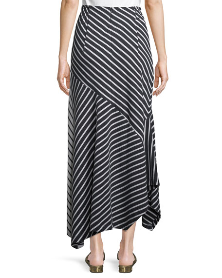 Striped Jersey A-Line Midi Skirt