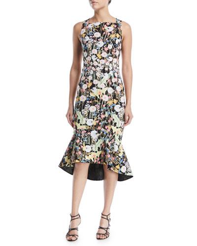 Sleeveless Square-Neck Dandelion-Print Cady Dress
