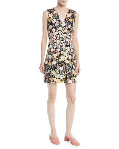 V-Neck Sleeveless Floral-Print Cady Mini Dress