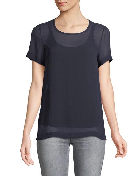 Domino Crewneck Short-Sleeve Silk Blouse, Ultramarine
