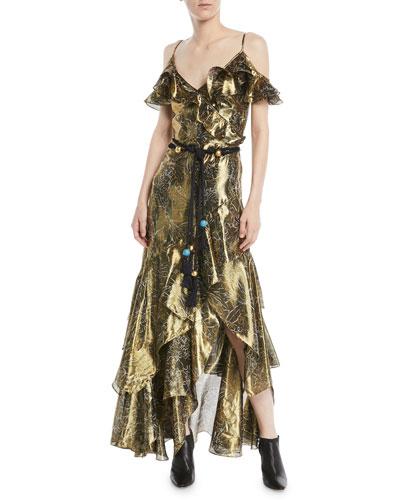 V-Neck Sleeveless Printed Metallic Cocktail Dress