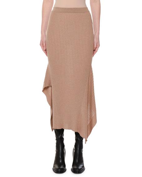 STELLA MCCARTNEY Ribbed Fitted Wool-Silk Midi Skirt W/ Asymmetric-Hem, Camel