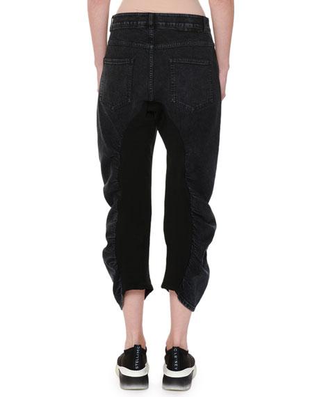 Ruched Seam Wide-Leg Crop Jeans