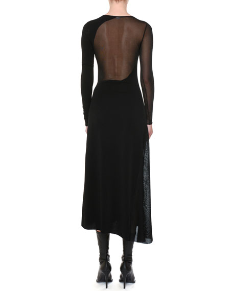 Round-Neck Long-Sleeve Sheer-Inserts Asymmetric Midi Dress