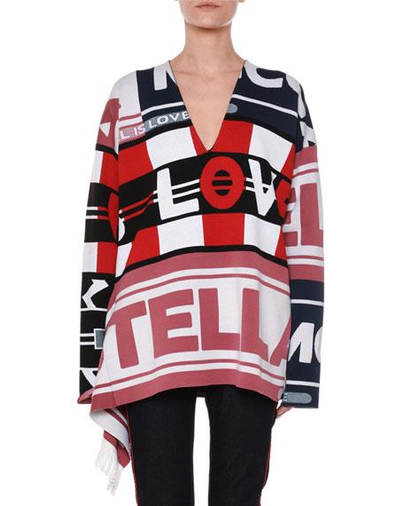 V-Neck Logo Intarsia Pullover Sweater W/ Fringe, Multi Pattern