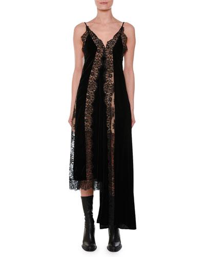 V-Neck Sleeveless Velvet Lace A-Line Midi Cocktail Dress with Asymmetric Hem