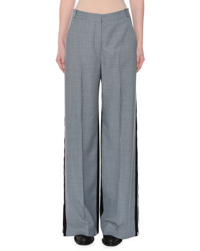 Wide-Leg Two-Tone Check Wool Trousers