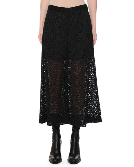 Cropped Corded Cotton-Blend Lace Wide-Leg Pants in Black
