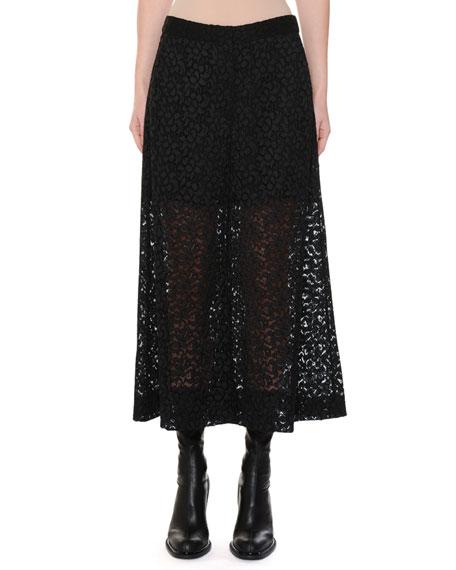Cropped Corded Cotton-Blend Lace Wide-Leg Pants, Black
