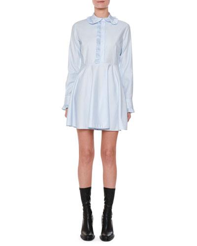 Long-Sleeve Cotton Poplin Shirtdress