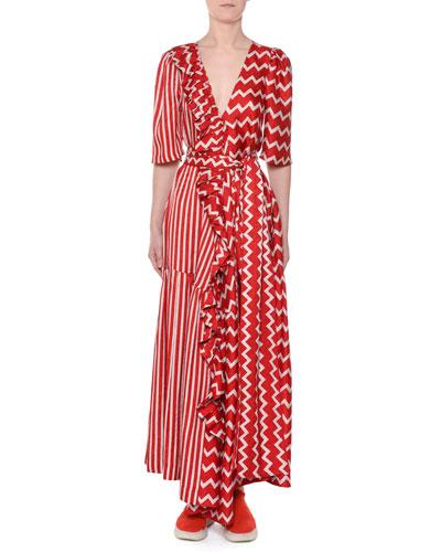 Elbow-Sleeve Striped & Zigzag Silk Wrap Maxi Dress