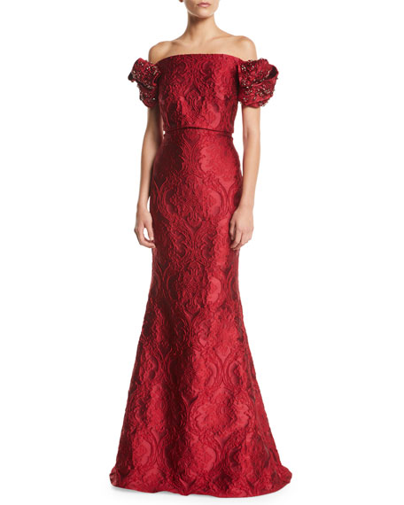 Off-the-Shoulder Twist-Bow-Sleeve Damask Brocade Evening Gown