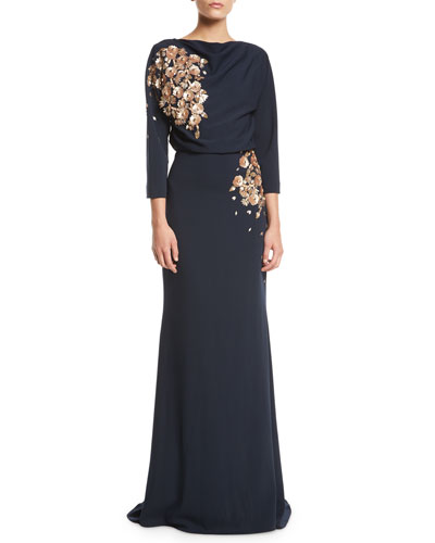 3/4-Sleeve Floral-Applique Column Evening Gown