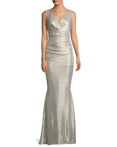 Sleeveless V-Neck Micro-Dot Laminated Mermaid Evening Gown