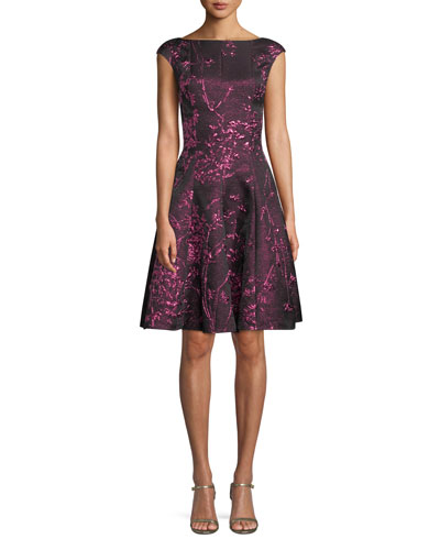 Cap-Sleeve Metallic Twig-Jacquard Fit-and-Flare Cocktail Dress