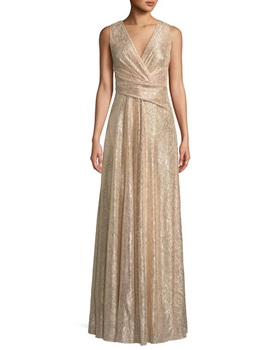 Surplice-Neck Sleeveless A-Line Laminated Plisse Evening Gown