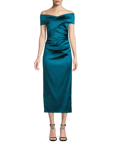 Poe Off-the-Shoulder Ruched-Bodice Satin Duchesse Cocktail Dress