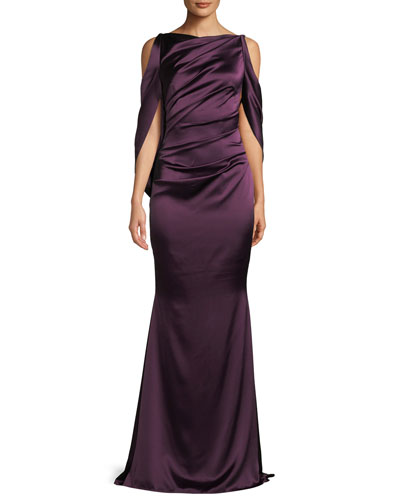 High-Neck Draped Bodice Shiny & Matte Crepe Satin Evening Gown