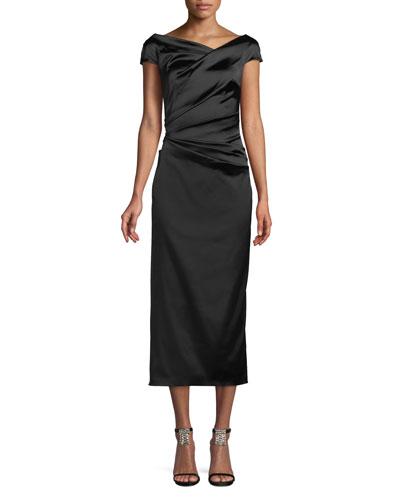 Roya Asymmetric-Neck Cap-Sleeve Gathered Stretch-Satin Cocktail Dress