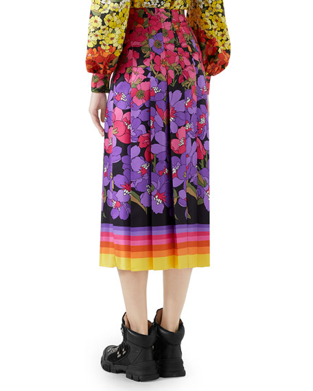 Floral Degrade Silk Twill Pleated Midi Skirt
