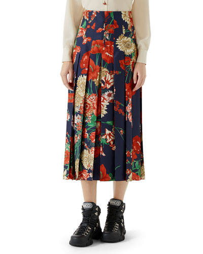 Pleated Spring Bouquet Silk Skirt