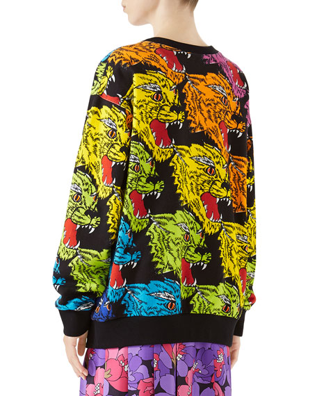 Multicolor Angry Panther Heavy Felted Cotton Oversized Sweatshirt