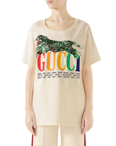 Gucci Cities Crewneck Short-Sleeve Cotton T-Shirt with Sequined Panther Detail