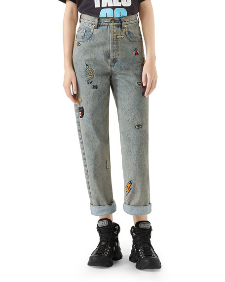 High-Waist Marble-Washed Straight-Leg Denim Jeans W/ Assorted Embroidery, Blue Pattern
