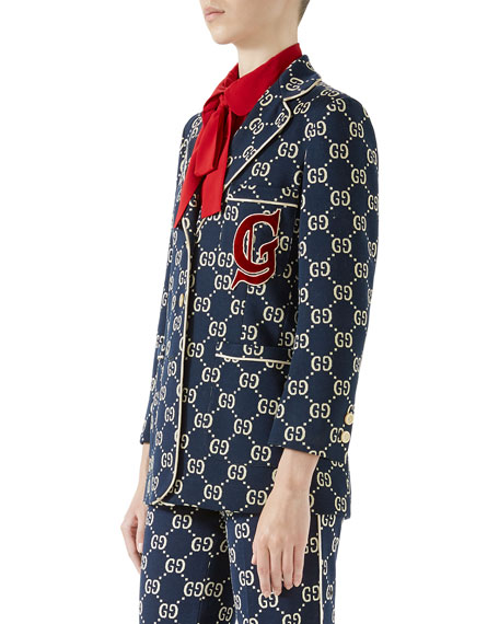 GG Jersey Single-Breasted Jacket w/ Preppy Patch