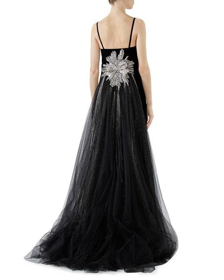 Embroidered Velvet & Organza Evening Gown