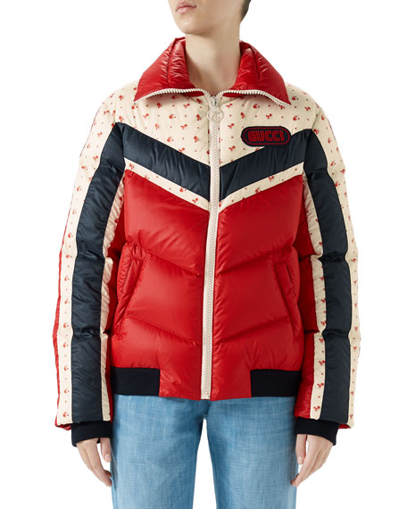 Retro Puffer Bomber Jacket W/ Logo Patch in Red