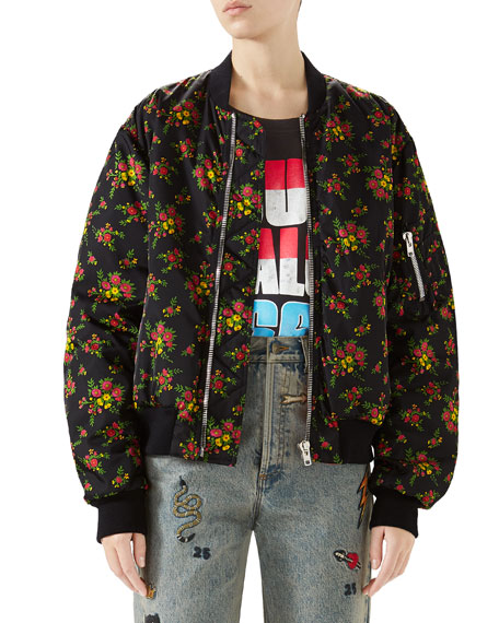 Bouquet-Print Zip-Front Woven Bomber Jacket in Black