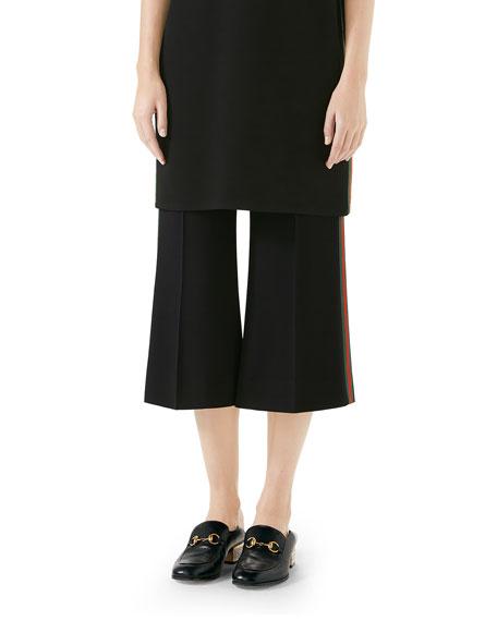 Side Stripe Cady Wide Leg Crop Pants in Black