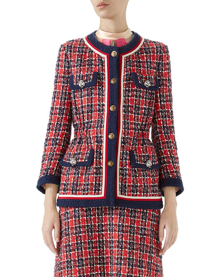 Gucci Button-Front 4-Pocket Woven Tweed Jacket w/ Fitted