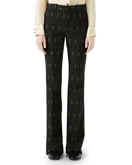 Logo Wool And Silk-Blend Jacquard Trousers in Black