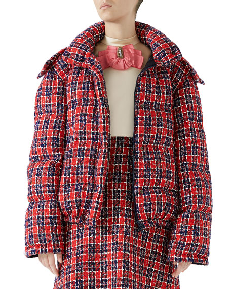 Tweed Hooded Puffer Jacket in Red