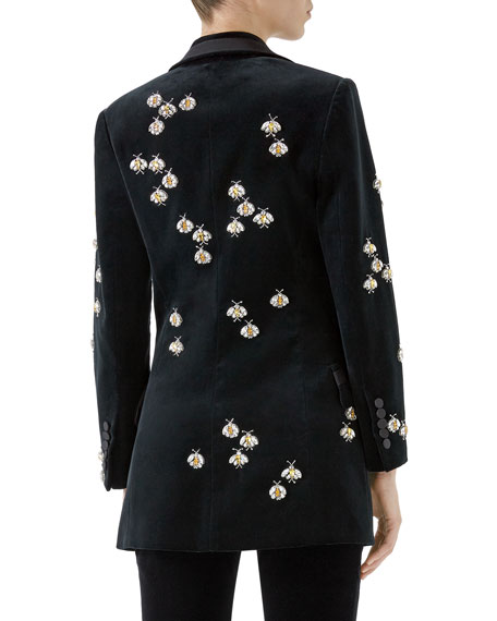 Single-Breasted Peak-Lapel Matte Stretch-Velvet Blazer w/ Bee Embellishments