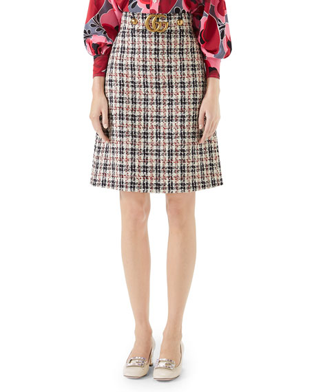 A-Line Tweed Knee-Length Skirt With Gg Hardware in Red