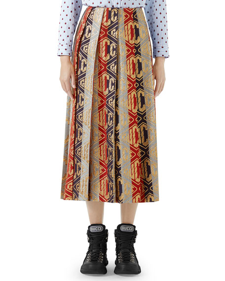 Pleated Rhombus-Logo Metallic Woven Tea-Length Skirt in Red / Blue / Gold