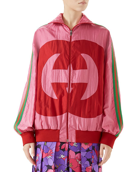 Zip-Front Technical Nylon Jacket W/ Gg Intarsia, Pink Pattern