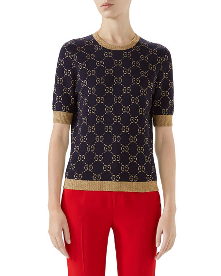 Crewneck Short-Sleeve Metallic Gg Jacquard Sweater, Blue