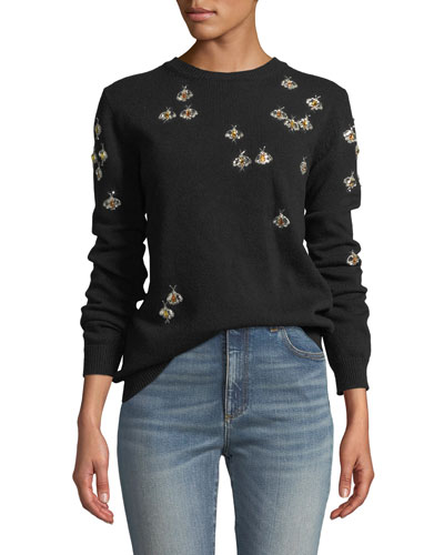 Bee-Embellished Crewneck Wool Sweater