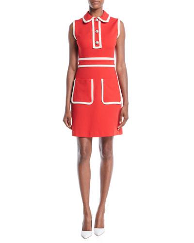 Sleeveless Stretch-Viscose Sheath Dress w/ Bicolor Trim