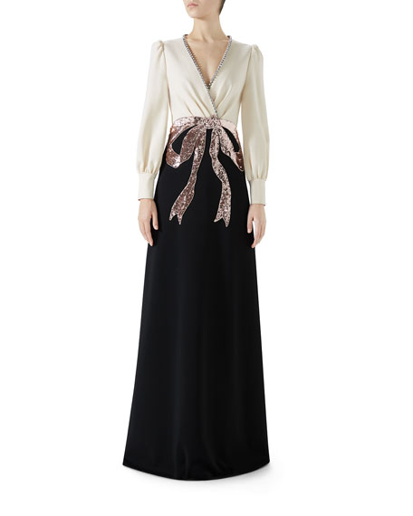 Long-Sleeve Evening Gown W/ Bow Embroidery in Neutrals