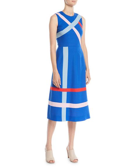 Sleeveless A-Line Striped Merino Wool Dress