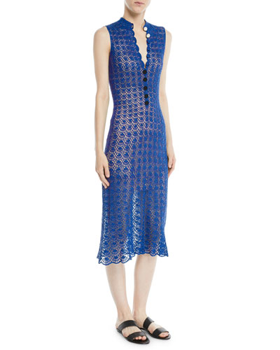 Sleeveless Button-Front Hand-Crochet Silk Midi Dress